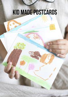 Kid made postcards -fun idea to send to grandparents! #kidscrafts