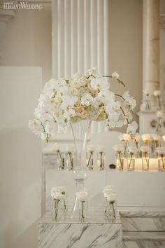 White Wedding Ceremony Flowers | Luxurious Red Wedding in Los Angeles