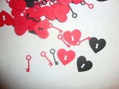 FREE SHIPPING 200 black and red heart and key confetti- customize colors- wedding shower- wedding- bridal shower. $6.00, via Etsy.