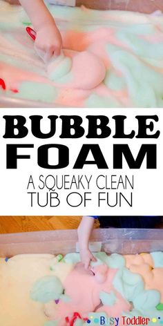 Bubble Foam Sensory Activity - Busy Toddler Bubble Foam: a squeaky clean tub of fun<br> Step by step directions for making tear free bubble foam using household items. A fun toddler sensory activity that's squeaky clean and easy to set up. Sensory Activities Toddlers, Baby Sensory, Infant Activities, Sensory Table, Childcare Activities, Bubble Activities, Outdoor Toddler Activities, Toddler Sensory Bins, Rainy Day Activities For Kids