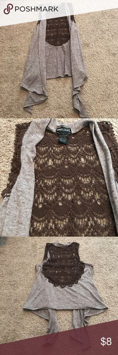 Brown Sleeveless Cardigan Brown Sleeveless Cardigan from Wet Seal. It's longer and open in the front. Smoke Free Home Wet Seal Other