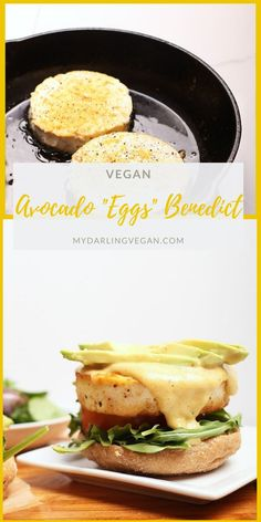 Start your day off right with this Vegan Eggs Benedict with avocado - made to perfection with seasoned tofu and homemade vegan hollandaise sauce. Mexican Breakfast Recipes, Savory Breakfast, Breakfast Sandwiches, Breakfast Pizza, Breakfast Bowls, Avocado Breakfast, Vegan Foods, Vegan Dishes, Recipes