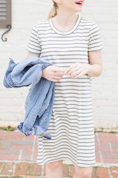 Madewell Short Sleeve Striped Tee Dress - Poor Little It Girl
