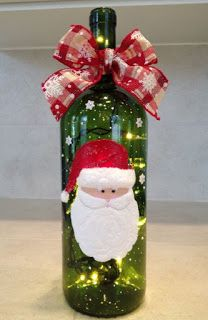 Here we've collected 27 easy and affordable holiday DIY projects using glass bottles that you can make this holiday season. Glass Bottle Crafts, Wine Bottle Art, Painted Wine Bottles, Christmas Wine Bottles, Wine Craft, Bottle Painting, Xmas Decorations, Christmas Art, Holiday Crafts