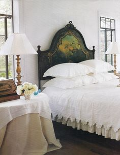 beautiful  old linens.. love stacked bed pillows! Babs Watkins