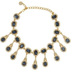 Kenneth Jay Lane Sapphire Drop Necklace ($271) ❤ liked on Polyvore featuring jewelry, necklaces, vintage jewellery, kenneth jay lane, kenneth jay lane necklace, vintage sapphire necklace and swarovski crystal jewelry