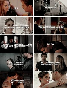 This perfectly captures the true meaning of a beautiful relationship, this is a huge part of why I absolutely fell in love with this series, they are so perfectly balanced and it really is amazing. I'm so freaking obsessed with Divergent! Divergent Memes, Divergent Hunger Games, Divergent Fandom, Divergent Trilogy, Divergent Insurgent Allegiant, Tfios, Insurgent Quotes, Divergent Dauntless, Veronica Roth