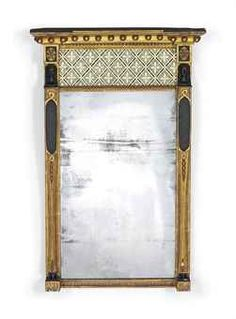A REGENCY GILTWOOD, COMPOSITION AND VERRE EGLOMISE MIRROR