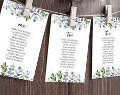 Seating Chart Template Editable Wedding Seating Chart | Etsy Table Seating Chart, Seating Chart Wedding Template, Seating Plan Wedding, Wedding Templates, Digital Invitations, Invitation Set, Wedding Invitations, Menu Cards, Table Cards