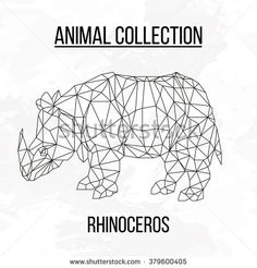 Rhinoceros geometric lines decoration silhouette isolated on white background vintage design element picture