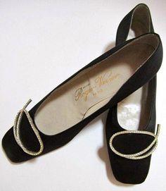 fcb58793b51 Items similar to Roger Vivier designer black silk shoes with rhinestone  buckle on Etsy