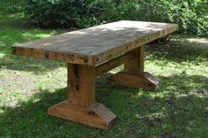 """Dining Table""-Inspired by Southwestern Furniture Design/Pine/Stained/Hand-waxed/Mexican Rustic Conchos - SOLD Rustic Kitchen Tables, Dinning Room Tables, Trestle Dining Tables, Metal Dining Table, Rustic Table, Rustic Wood, Farmhouse Table, Farm Tables, Modern Farmhouse"