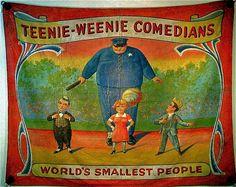 Fred Johnson Circus Banner - Teenie Weenie Comedians