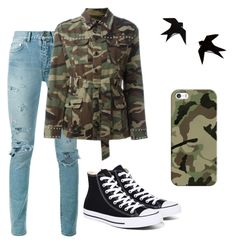 """""""Army look"""" by emelinebourgois on Polyvore featuring Yves Saint Laurent, Converse, Casetify and army"""