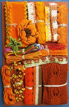 Crazy Quilt Embellishment Assortment - Orange