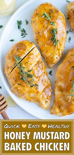 Honey Mustard Chicken is coated in a sweet and savory sauce and then baked in the oven until juicy and tender. This healthy, quick, and low-carb chicken breast recipe can easily be meal prepped ahead of time for busy weeknight dinners. Chicken Tender Recipes, Chicken Breast Recipes Healthy, Baked Chicken Breast, Easy Healthy Recipes, Low Carb Chicken Dinners, Healthy Baked Chicken, Oven Chicken Recipes, Healthy Chicken Dinner, Chicken Breasts