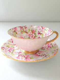 Antique Shelley Maytime Chintz Pattern Oleander Shape English Fine Bone China Rare Teacup and Saucer Tea Party on Etsy, China Cups And Saucers, China Tea Cups, Teapots And Cups, Café Chocolate, Keramik Vase, My Cup Of Tea, Tea Cup Saucer, Drinking Tea, Bone China