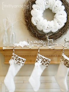 Quick tip for hanging stockings. Love the coffee filter wreath, too!