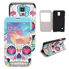Elonbo J10H17 Cool Skulls Mat Lines PU leather Flip Stand Full Body Case for Samsung Galaxy S5 I9600 – USD $ 9.99