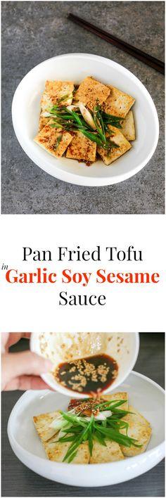 Pan Fried Tofu in Garlic Soy Sesame Sauce   MyKoreanKitchen.com
