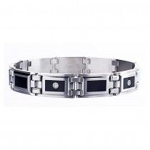 Men's STEL Stainless Steel Bracelet with Black Enamel Inlay and Genuine Diamond Accent