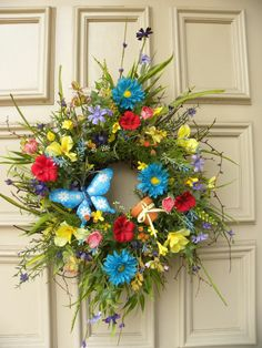 Summer Twig Floral Door wreath - Butterfly - Flower pot - Home Decor - Patio