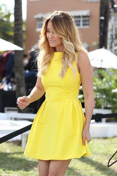 Lauren Conrad In Almost Has A Fashion Mishap From Gust Of Wind As She Arrives At The Cotton 24 Hour Runway On Miami Beach