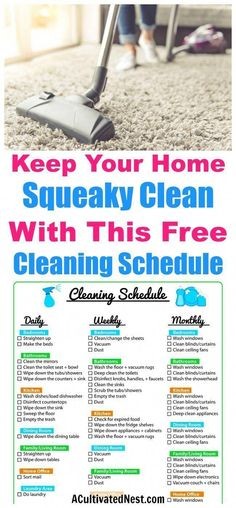 Weekly Cleaning Schedule Printable- FREEGet super organized with this pretty and easy to use cleaning schedule printable. It is a weekly cleaning schedule but also lists daily, biweekly and monthly tasks.