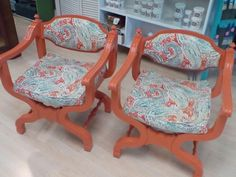 Urban Twiggs Restoring vintage furniture ,this pair of chairs painted in shabby paints volunteer orange and upholstered in a fresh new fabric . Upcycled Furniture, Vintage Furniture, Paint Colors, 1950s, Custom Design, Armchair, Shabby, Chairs, Urban