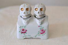 Vintage Bobbing Skull Salt and Pepper Shakers Nodders