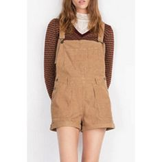 Casual Style Pocket Design Brown Women's Overalls