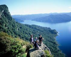 Day 4 - rest spot on bluffs overlooking Lake Waikaremoana, North Island, NZ.
