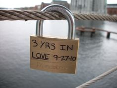 Lock on a bridge in Denmark. My boyfriend locked it there for us on our 3 year anniversary. We've been together for over 4