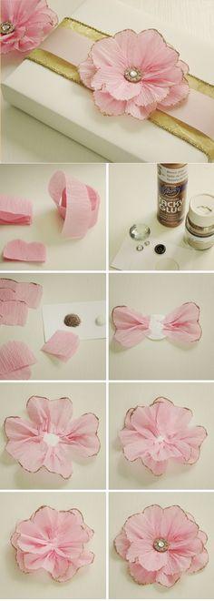 Blumen zum Muttertag basteln dekoration geschenk seidenpapier rosa glitzer