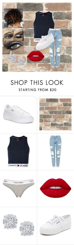 Untitled #38 by nashantie on Polyvore featuring Tommy Hilfiger, Topshop, Calvin Klein Underwear, Superga, Puma, Effy Jewelry, Lime Crime and Wall Pops!