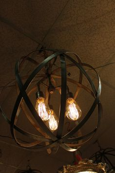 Industrial Sphere Chandelier Metal strap by TheLightingPalace