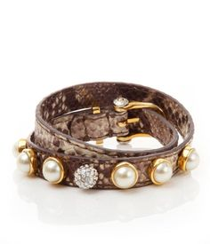 In A Pod Double Wrap Bracelet - snakeskin, pearls, gold and sparkles. Please and thank you!