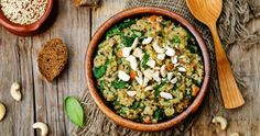lentils mushroom spinach quinoa by Arzamasova. lentils mushroom spinach quinoa on a dark wood background. Lentils And Quinoa, Diet Recipes, Healthy Recipes, Healthy Food, Fiber Rich Foods, Quick Healthy Meals, Low Cholesterol, Nutrition Tips, Easy Cooking