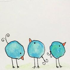Whimsical Water Color Blob Birds