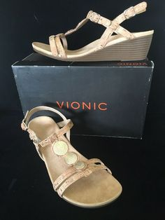 8ad9719c0529 Vionic Womens Park Noleen Size 9.5 M T-Strap Wedge Sandals Gold Cork New   123