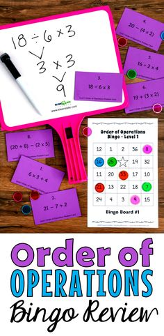 LOVE, LOVE, LOVE Order of Operations Bingo! It's the BEST way to practice order of operations because it's super motivating and fun! Players must get the answers correct to win, so they're motivated to work carefully. Includes 2 levels of lessons, game materials and tests: 64 unique printable Bingo boards, 48 Bingo calling cards with math problems, and leveled tests. Level 1 problems don't have exponents, but Level 2 problems do. Aligned with 5th grade CCSS math 5.0A.A.1.