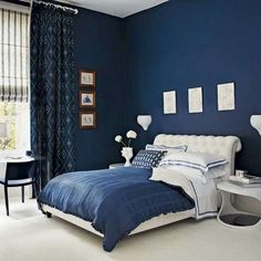 Wonderful Blue Bedroom Paint Colors throughout Best Blue Paint Colors For Bedrooms Girls Bedroom Colors Blue Paint Master Bedroom Design, Home Bedroom, Colorful Bedroom Design, Blue Bedroom Walls, Blue Bedroom Decor, Dark Blue Bedrooms, Blue Master Bedroom, Remodel Bedroom, Bedroom Color Schemes