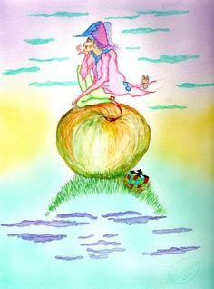 """""""Polishenelle""""  original watercolor illustration from Artist Marina Sciascia (USA)"""