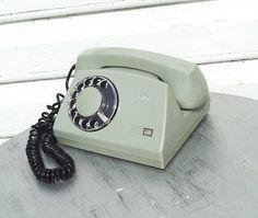 Rotary Dial Telephone Vintage Russian Gray Desk by MerilinsRetro