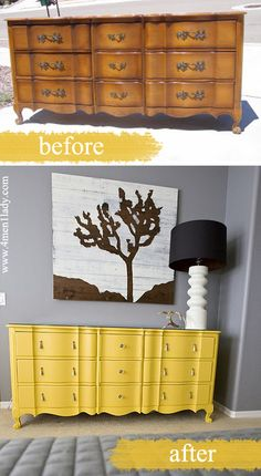 Oh how I love bright yellow furniture these days . DIY Interior Decorating, DIY Furniture Makeovers could be a side board in the dining l too. Bright Painted Furniture, Refurbished Furniture, Colorful Furniture, Repurposed Furniture, Furniture Makeover, Furniture Projects, Diy Furniture, Painting Furniture, Dresser Painting