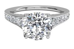 Round Cut Diamond Tapered Pavé Diamond Band Engagement Ring in White Gold, by Ritani