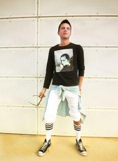 look of the day, Paul & Joe vintage sweatshirt,knee socks and sweatpants american apparel, converse all star sneakers, sportswear, men's fashion, blog, stylentonic