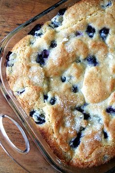 Buttermilk-Blueberry Breakfast Cake. May try this in a cast iron skillet