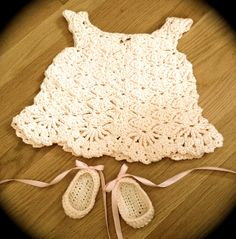 ADORABLE! Crochet: Little White Dress & Ballet Flats© positivelylace.  Scroll to bottom for ballet shoes pattern. This beautiful dress pattern is available free through Ravelry here: http://www.ravelry.com/patterns/library/little-white-dress. CQ