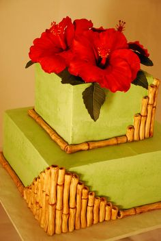 Bamboo and Hibiscus Italian Buttercream Cake - Wendy Schultz via Ashley Nguyen onto Cake Decoration. Pretty Cakes, Cute Cakes, Beautiful Cakes, Yummy Cakes, Amazing Cakes, Italian Buttercream, Buttercream Cake, Cakepops, Pool Cake